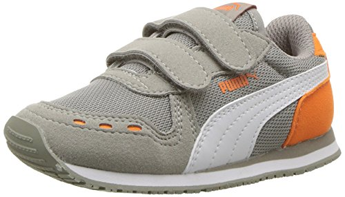 PUMA Baby Cabana Racer Mesh Velcro Kids Sneaker, Rock Ridge White-Vibrant Orange, 7 M US Toddler