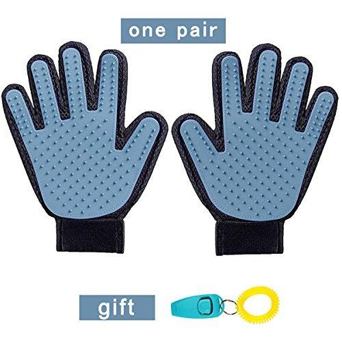 NEFUTRY Deshedding Glove, Pet Grooming Brush, Hair Remover Mitt, Five Finger Design, One Pair(Left &Right)-Send Whistle as Gift