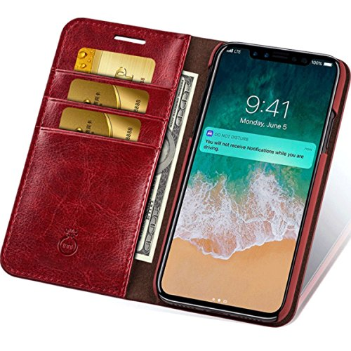 iPhone X Case Leather Wallet Phone Case with Slim Flap Cover and Card Slots 3 Cards (Flap Horizontal Case)
