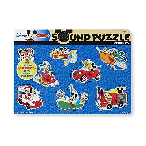 Melissa & Doug Disney Mickey Mouse and Friends Vehicles Sound Puzzle (8 pcs) (Puzzles With Sound)