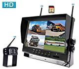 CAMONS Digital Wireless Backup Camera for RV, 9' Monitor Quad Split No Flicker, Built-in DVR, 120°HD Night Vision IP69 Waterproof Camera Rear/Side/Front with Mic &Remote Control