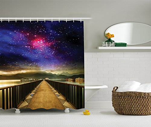 galaxy shower curtain universe decor by ambesonne galaxy cosmos and wooden bridge panoramic view celestial print polyester fabric bathroom shower curtain