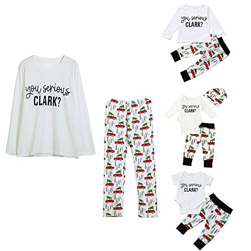 Kehen Family Matching Christmas Pajamas Sleepwear Letter Printed Long Sleeve Tops Xmas Tree and Car Pjs Pant Set Adult -