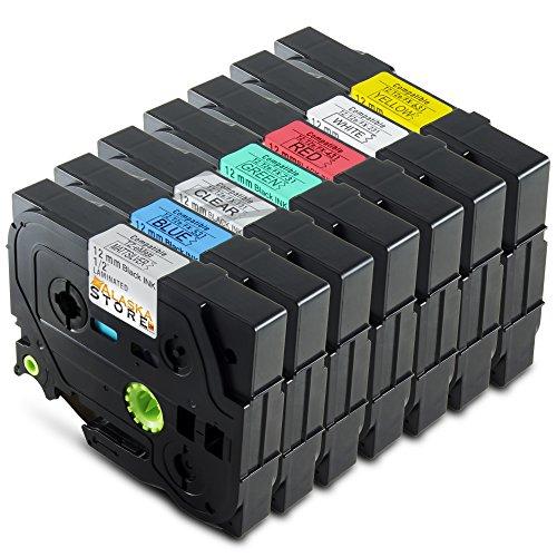 7er Set Schriftband-Kassette Tape Ersatz für Brother 1x TZ-131 XL + 1x TZ-231 XL + 1x TZ-431 XL + 1x TZ-531 XL + 1x TZ-631 XL + 1x TZ-731 XL + 1x TZ-931 XL Alaskaprint Tinte Black, je 12mm, für Brother P-Touch