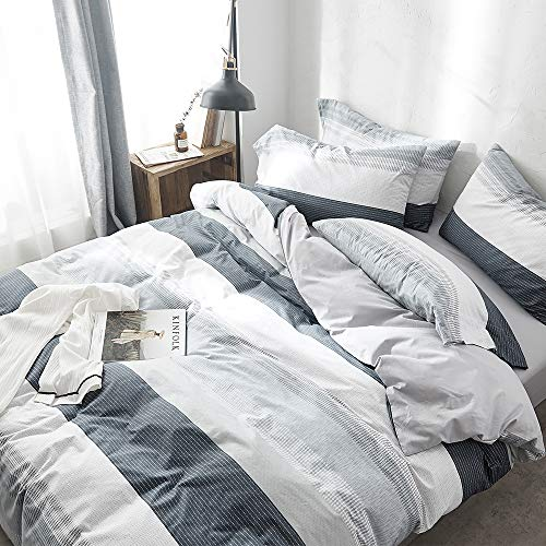 VClife Cotton Grey-Blue Queen Duvet Cover Sets for Boy Man Luxurious Chic Geometric Bedding Sets with Envelope Pillowcases Good Gift for Kids Teens Adults Queen- Breathable Hypoallergenic Durable Cotton Stripe Comforter Cover