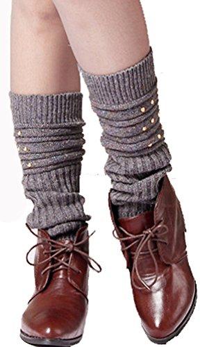 Sarah Women Beaded Cable Knitted Socks Leg Warmers Gray-v65