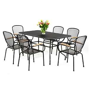 7piezas Set de muebles para jardín negro polvo polywood Asiento Grupo Jardín Conjunto de muebles de terraza