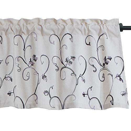 VOGOL Faux Linen Vines Embroidered Valance, Window Decorative Valances, Rod Pocket, 52 x 18 Inch, Grey