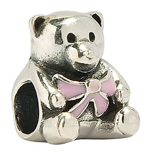 Girl Teddy Bear Pink Ribbon Authentic Sterling Silver Charm Bead Fits European Charms (Amethyst February Birthstone) (Amethyst February Birthstone)
