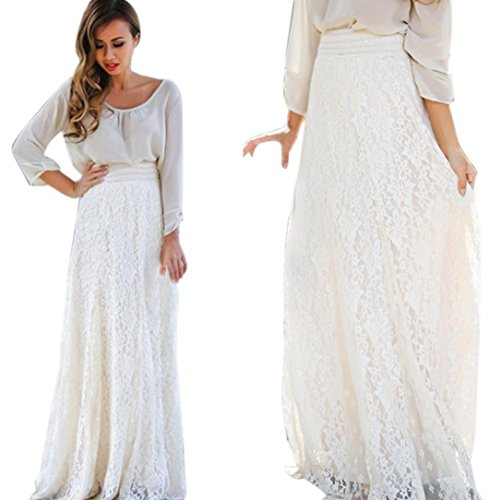 Hemlock Women Lace Dress Long Skirt Elastic Waist Skirt (XL, White)