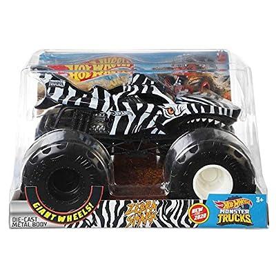 Hot Wheels 2020 Monster Trucks 1:24 Scale Metal Body, Zebra Shark Black/White: Toys & Games