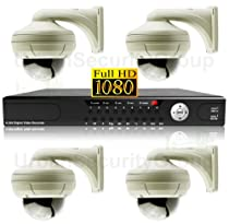 1080p HD Video Surveillance Bundle: HD-SDI 4x Dome Cameras + 1x DVR - 2.8-12mm Varifocal Lens hdCCTV 2.1 Megapixels - Home/Business Security Cameras - Outdoor/Indoor IP66 Weatherproof Vandalproof 42 IR LEDs