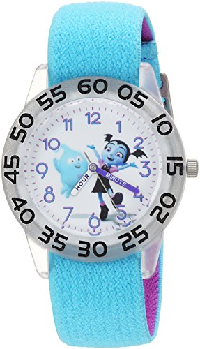 Disney Girl's 'Vampirina' Quartz Plastic and Nylon Casual Watch, Color:Blue (Model: WDS000417)
