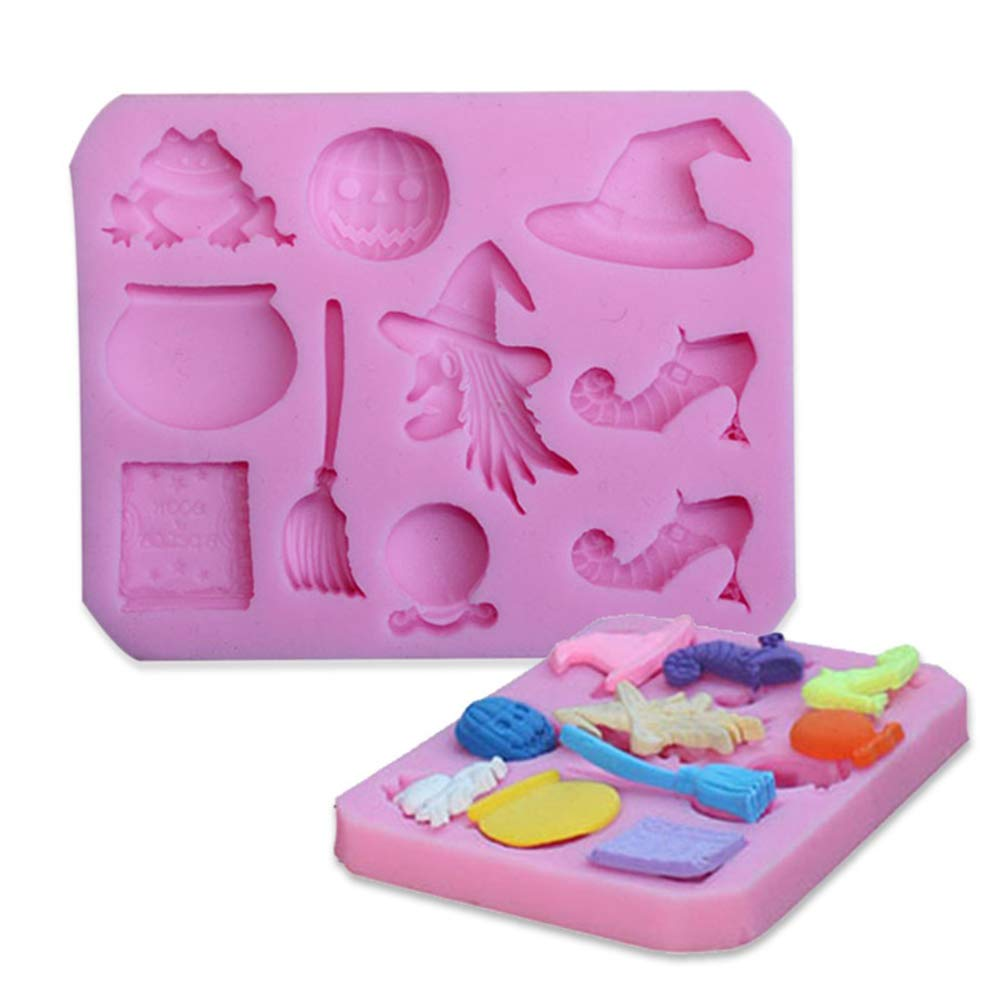 Halloween Witch Broom Silicone Fondant Mold Sugarcraft Cake Decorating Tool - Pink