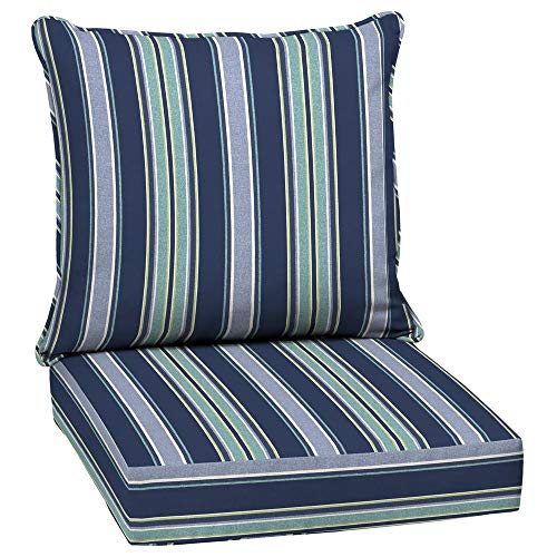 Arden Selections 24 x 24 Sapphire Aurora Stripe 2-Piece Deep Seating Outdoor Lounge Chair Cushion (Arden Cushions Outdoor)