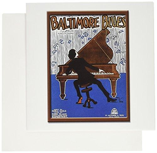 (3dRose Vintage Baltimore Blues Song Sheet Cover Greeting Cards, Set of 6 (gc_126350_1))