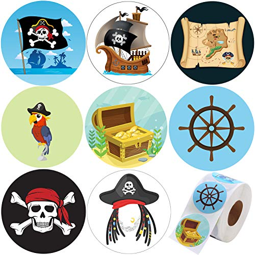Elcoho 600 Pieces Assorted Pirate Theme Stickers Pirate Skull and Crossbones Roll Stickers Self-Adhesive Decorative Stickers for Party Supplies (Pirate) -