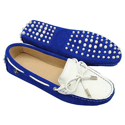 Minishion Girls Womens Casual Knot Suede Slip-on Flats Driving Boat Shoes Loafers Royal Blue/White v1w1rXhE