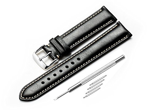 iStrap 20mm Genuine Calfskin Leather Watch Band Padded Strap Steel Spring Bar Buckle Super Soft - Black Black Padded Leather Band