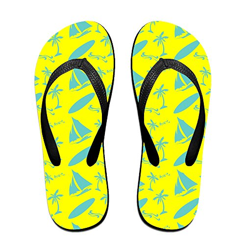 Tropical Coconut Palm Trees, Waves, Surf Board Unisex Fashion Beach Slipper Indoor And Outdoor Classical Flip-Flop Thong Sandals M (Tiger Flip Sandals)