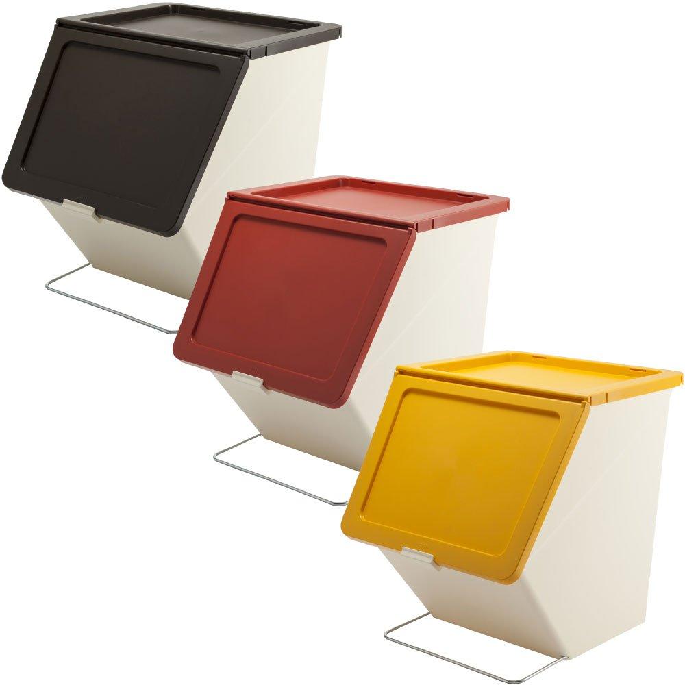 スタックストー ペリカン ガービー 38L 全6色の中から選べる3個セット ゴミ箱 ごみ箱 ダストボックス おしゃれ ふた付き stacksto pelican (ブラウン×レッド×イエロー) B0759CM9J3 ブラウン×レッド×イエロー ブラウン×レッド×イエロー