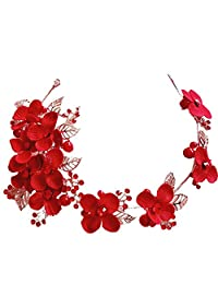 Charm Floral hairband Crystal Beads red crown women hair ornaments golden bridal wedding photography accessories