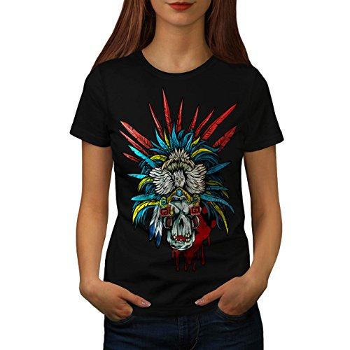 [Skull Indian Warrior Costume Women M T-shirt | Wellcoda] (Mayan Warrior Costumes)