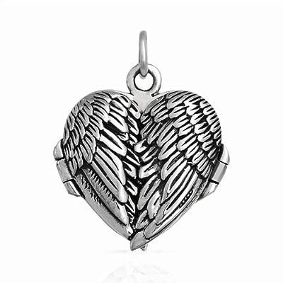 Sterling Silver Angel Wings Locket Pendant