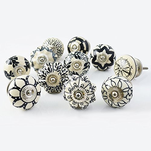(Set of 20 Assorted Vintage Black and White Hand Painted Ceramic Pumpkin and Round Knobs Cabinet Drawer Handles Pulls)