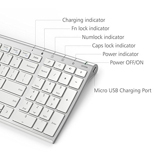 iClever GK03 Wireless Keyboard and Mouse Combo - 2.4G Portable Wireless Keyboard Mouse, Rechargeable Battery Ergonomic Design Full Size Slim Thin Stable Connection Adjustable DPI, Silver and White by iClever (Image #3)