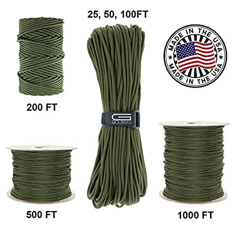 GOLBERG 750lb Paracord / Parachute Cord – US Military Grade – Authentic Mil-Spec Type IV 750 lb Tensile Strength Strong Paracord – Mil-C-5040-H – 100% Nylon – Made in (In Door Bike Stand)