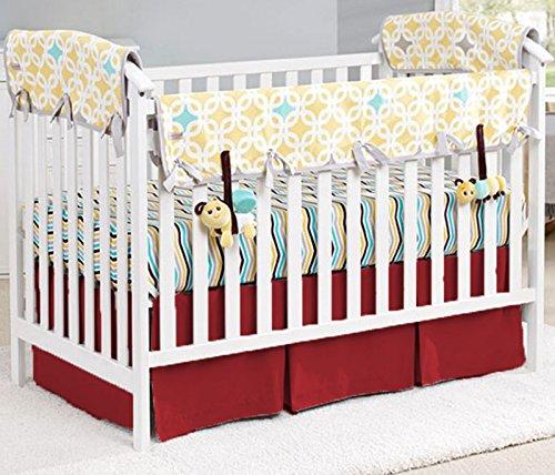 (Unisex Nursery Baby Bedding Mini Crib Front Two Pleat Skirt Solid Pattern 500 TC Egyptian Cotton (Burgundy,Mini Crib))