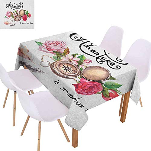 Marilec Waterproof Tablecloth Adventure Vintage Compass Flowers Retro Feathers Text Travel Concept in Watercolors Washable Tablecloth W70 xL102 Bronze Pink Green Great for Buffet Table