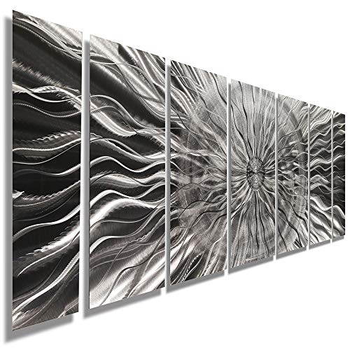 Statements2000 Abstract Large Etched 3D Metal Wall Hanging Panels Indoor/Outdoor Sculpture Art by Jon Allen, Silver, 68