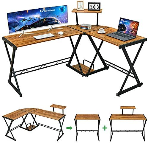 "GreenForest L Shaped Desk 58"" Reversible Corner Computer Desk with Movable Shelf and CPU Stand, Gaming Desk with Sturdy X Leg Space Saving Home Office Workstation Table, Walnut"