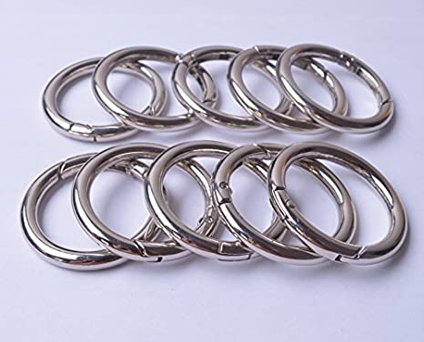 Amazon Com Wento 10pcs 1 1 2 38mm Gate Silver O Ring Round Carabiner Snap Clip Trigger Spring Keyring Buckle Wtor001 1 1 2 Silver