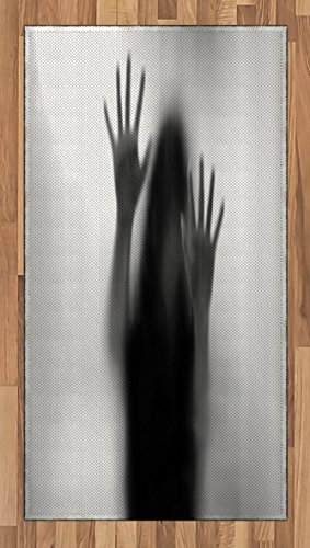Horror House Area Rug by Lunarable, Silhouette of Woman behind the Veil Scared to Death Obscured Paranormal Photo Print, Flat Woven Accent Rug for Living Room Bedroom Dining Room, 2.6 x 5 FT, Gray by Lunarable