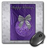 34370 - 3dRose LLC 8 x 8 x 0.25 Inches Mouse Pad, Purple Ornament with Silver Bow, Happy Holidays (mp_34370_1)