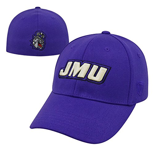 Top of the World NCAA James Madison Dukes Premium Collection One-fit Memory Fit Hat, Purple, Adjustable (Duke Golf Gear)