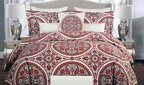 Cynthia Rowley Bedding 3 Piece Full / Queen Duvet Cover Set Round Medallion Pattern in Shades of Red, Pink, Blue and Mustard Yellow on Cream Off-White (Red And Cream Duvet Cover)