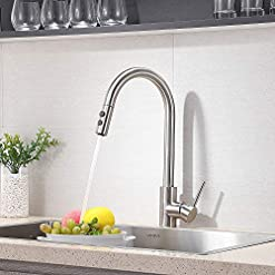 Farmhouse Kitchen Contemporary High Arc Single Hole Single Handle Brushed Nickel Silver Pull Out Kitchen Sink Faucet, Farmhouse Bronze… farmhouse sink faucets