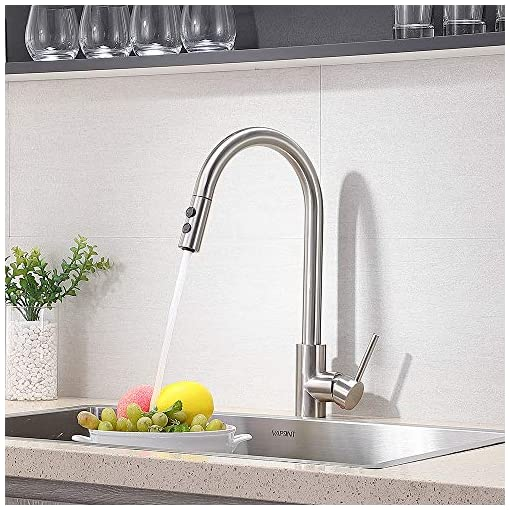 Contemporary High Arc Single Hole Single Handle Brushed Nickel Silver Pull Out Kitchen Sink Faucet Farmhouse Bronze