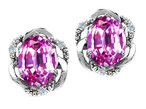 Pink Sapphire Oval Earrings (Tommaso Design Oval 8x6mm Created Pink Sapphire Earrings 14 kt White Gold)
