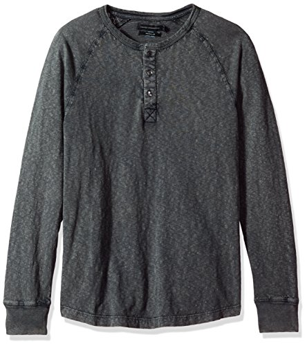(French Connection Men's 3 Button Solid Color Cotton Henley Shirt, Ebony,)