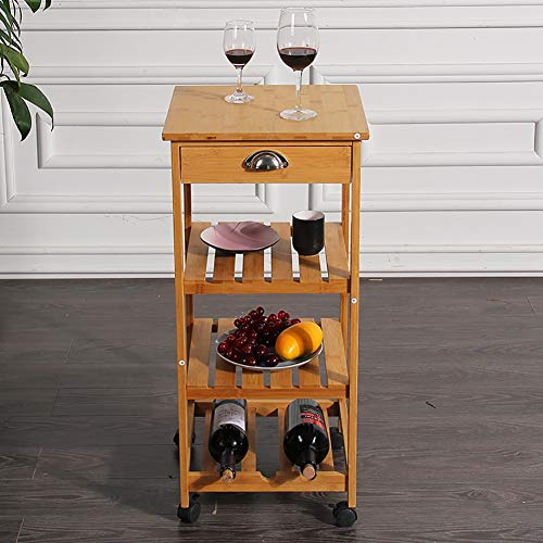 Kitchen Bamboo Multi-Layer Rack, Corner Frame with Wheel Removable Trolley, Seasoning Storage Rack, with Drawer Mesa by Kitchen Cart (Image #5)