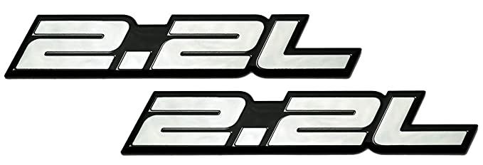 2 x (pair/Set) 2.2L Liter Embossed SILVER on Black Highly Polished Silver Real Aluminum Auto Emblem Badge Nameplate for Honda Accord LX EX DX Prelude H22 ...