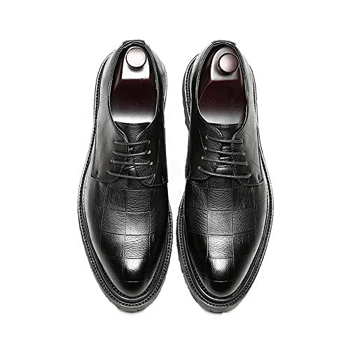 Lacci Mocassini Pu Con Uomo Classici Texture Semplici Oxfords Strong Outsole Da D'affari Square Per Pelle Sry Nero In Scarpe shoes vqw7Y7