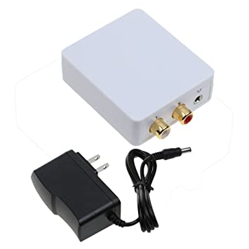 MonkeyJack Digital Audio Adapter, Digital Coax and Optical Toslink To Analog Audio Converter Decoder RCA