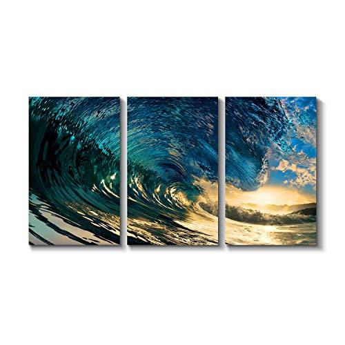 Grander Group Seascape Artwork Ocean Wave Picture - Blue Crashing Graphic Art Painting Print