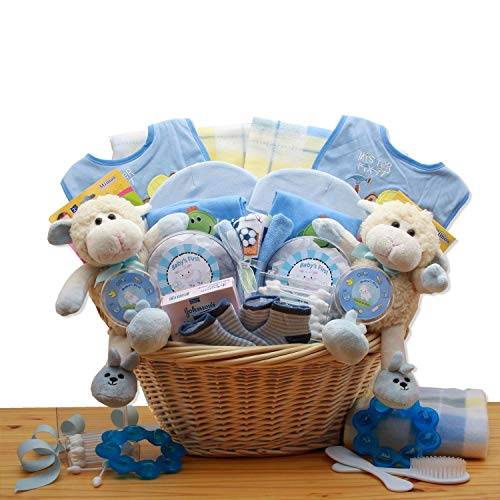 Double Delight Twins New Baby Gift Basket – Blue